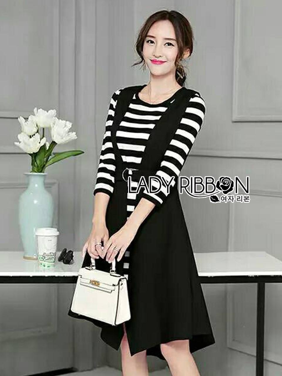 &#x1F380 Lady Ribbon's Made &#x1F380 Lady Grace knit Chic Striped Overall Black Dress