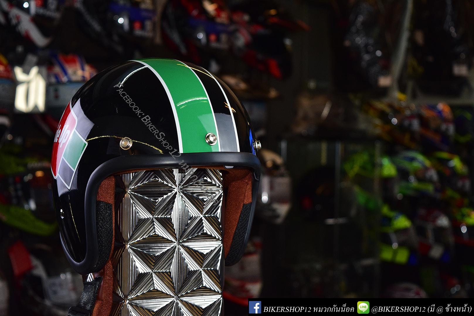 หมวกกันน็อคคลาสสิก 5เป๊ก (มีแว่น) สี Ride Up ดำ