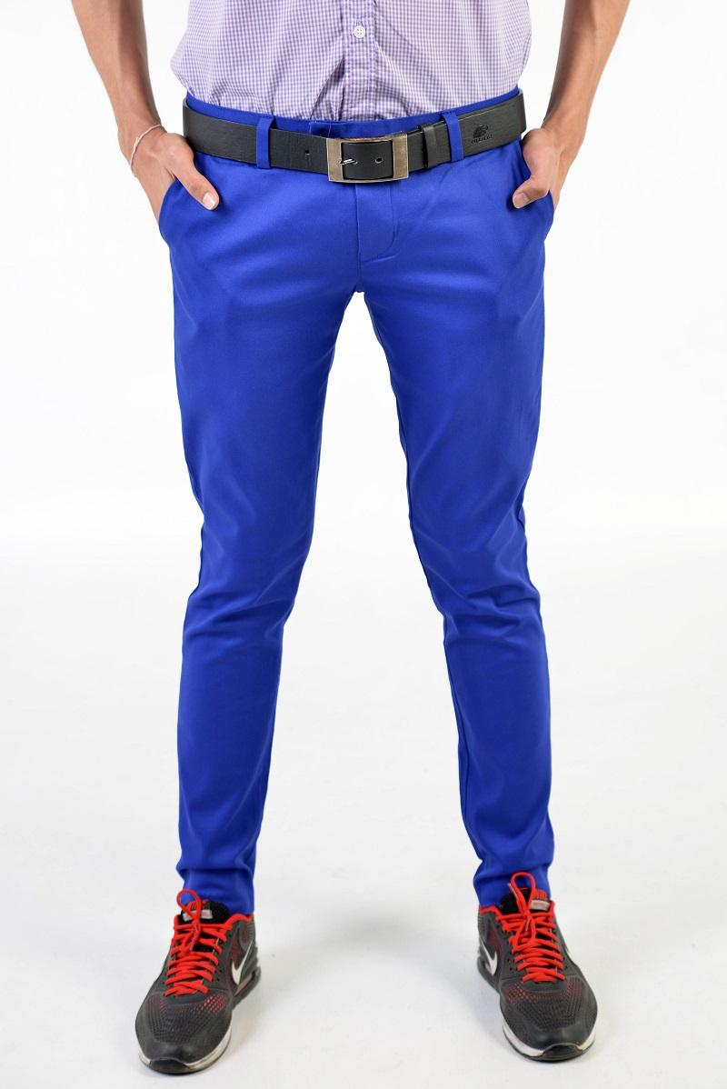 กางเกงสแล็คผู้ชายสีน้ำเงิน ผ้ายืด ขาเดฟ