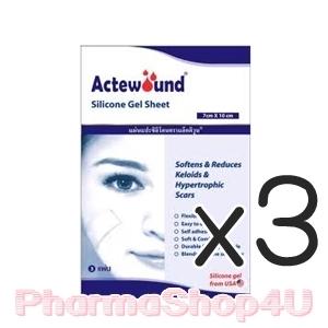(ซื้อ3 ราคาพิเศษ) Actewound Silicone Gel Sheet (7x15cm) ขนาด1แผ่น แอ็คติวูนแผ่นแปะซิลิโคน ช่วยลดรอยแผลเป็นนูนทั้งเก่าใหม่ให้จางและนุ่มลง