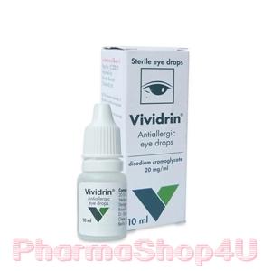 Vividrin Eye Drop 10mL วิวิดริน หยอดตาข้างที่เคือง แดง คัน ช่วยลดการอักเสบ