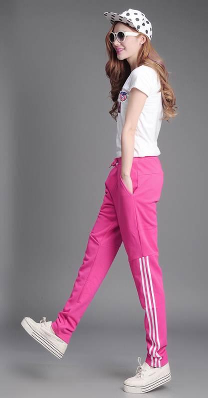 กางเกงแฟชั่น ขายาวเอวผูก ผ้าฝ้าย ลายแถบ สีชมพู
