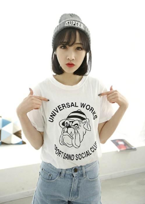 (SALE) T-shirt ลายการ์ตูน สีขาว