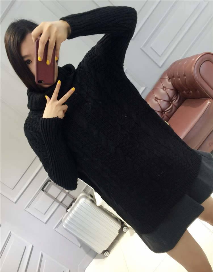 เสื้อแฟชั่น แขนยาว คอเต่า ผ้าไหมพรม สีดำ