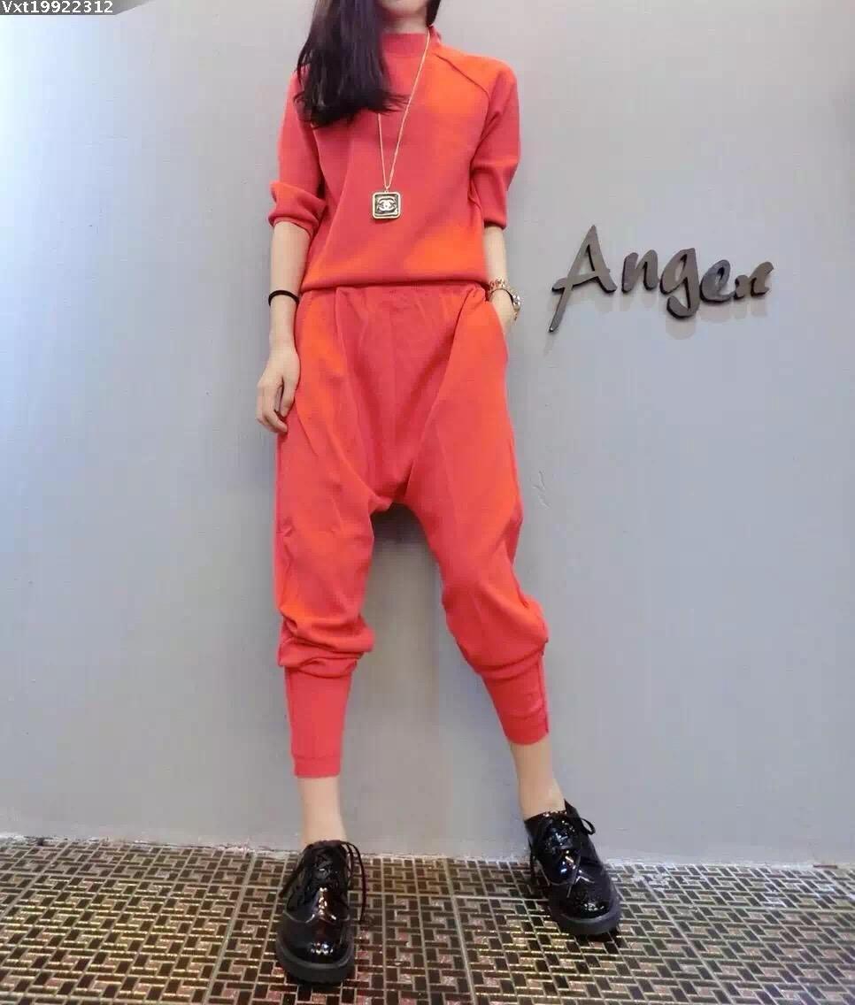 ชุด 2 ชิ้น เสื้อแฟชั่น คอปีน แขน4ส่วน + กางเกงฮาเร็ม เอวสม๊อค สีส้ม