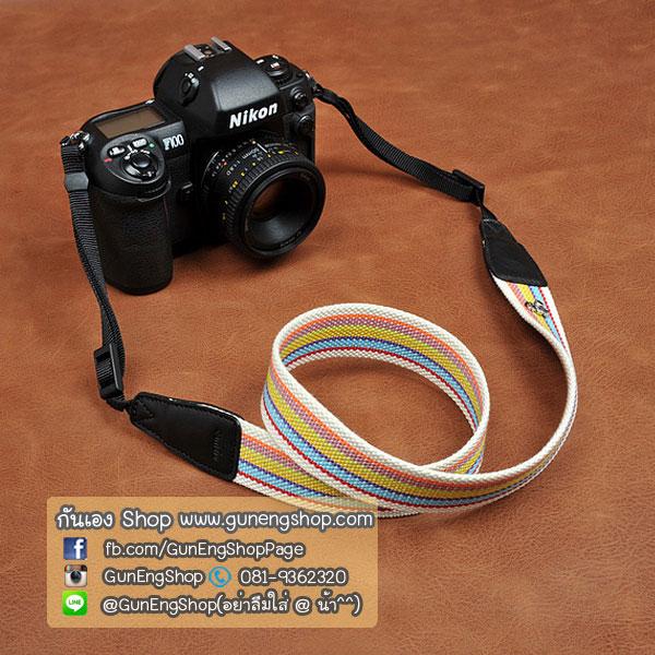 สายกล้องคล้องคอ cam-in Bright Rainbow ปลายดำ 32 mm