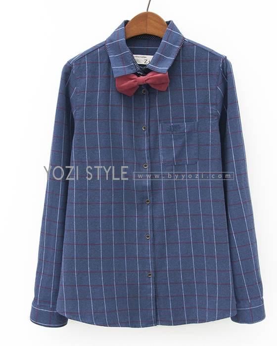 (SALE) เสื้อเชิ๊ตลายสก๊อต ผูกโบว์ สีน้ำเงิน