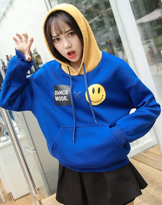 เสื้อแฟชั่น เสื้อกันหนาว แขนยาว มีฮูด ลาย Dance Mode สีฟ้า