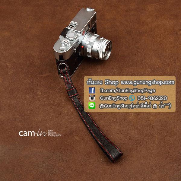 สายกล้องคล้องมือหนังแท้ รุ่น Cam-in คล้องมือ ดำด้ายแดง