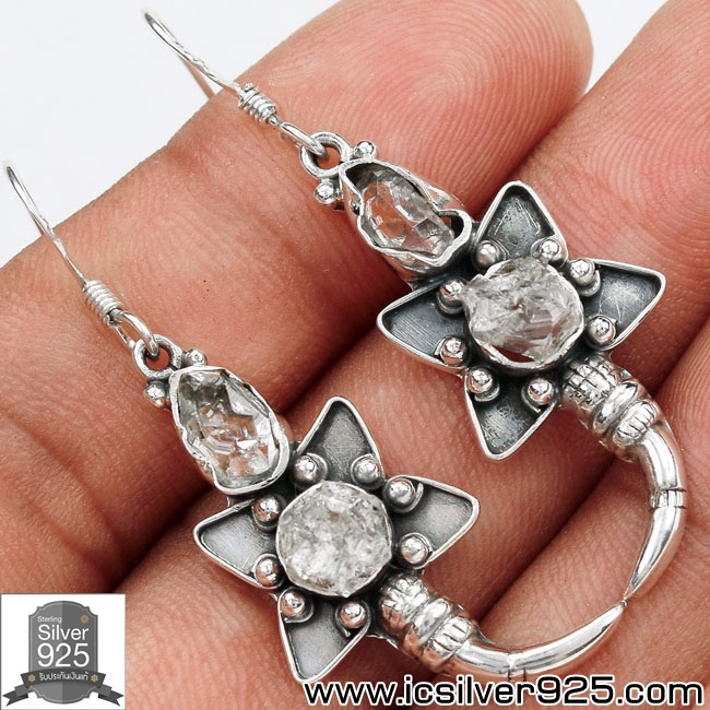 ▽ต่างหูเงินแท้ 925 - Herkimer Diamond (5.5g)