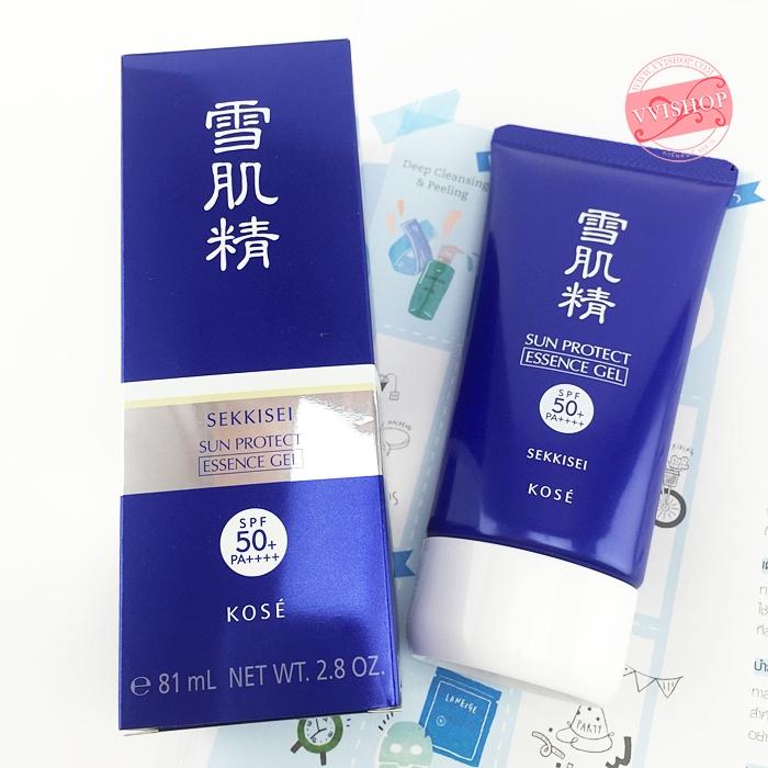 Kose Sekkisei Sun Protect Essence Gel SPF50+ PA++++ 81 ml กันแดด เนื้อเอสเซ้นส์เจล บางเบา และกันแดดดียิ่งขึ้น ซึมเร็ว ไม่เหนอะหนะ ไม่มัน
