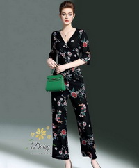 เสื้อ+กางเกง สกรีนลายดอกไม้