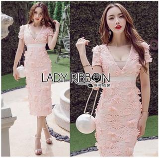 Lady Ribbon Online ขายส่งเสื้อผ้าออนไลน์เลดี้ริบบอน LR21010816 &#x1F380 Lady Ribbon's Made &#x1F380 Lady Gabriella Sexy Feminine Flower Embroidered Pinky Dress