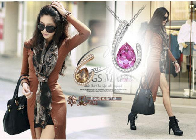 H789 - สร้อยเพชร,สร้อยคอเงิน,สร้อยคอเพชร,สร้อยคู่รัก,สร้อยจี้,เครื่องประดับ Austrian crystal necklace