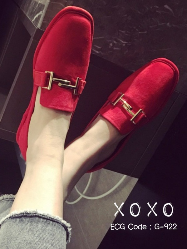 รองเท้าคัทชูส้นแบนสีแดง ผ้าสักหราด น้ำหนักเบา (สีแดง )