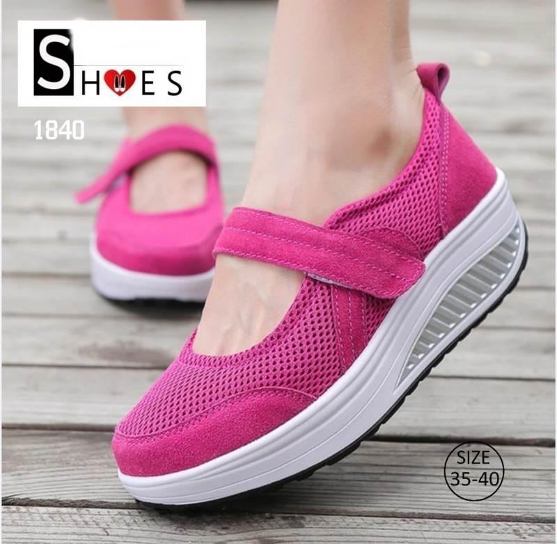 รองเท้าผ้าใบเสริมส้นสีชมพู ผ้าทอตาข่าย สายรัดเมจิกเทป (สีชมพู )