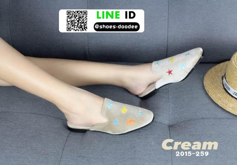 รองเท้าคัชชูหนังนิ่ม สไตล์แบรนด์ดัง ส้นทอง 2015-259-CRE [สีครีม]