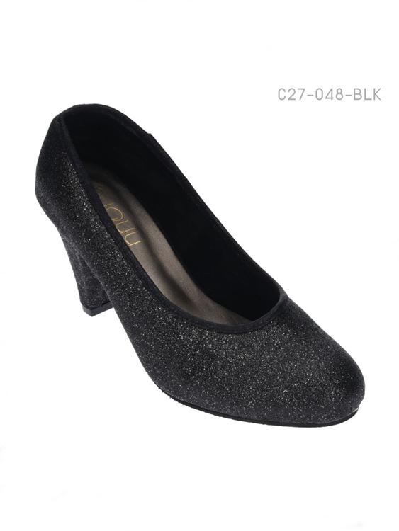 รองเท้าคัทชูหัวกลม แต่งกลิตเตอร์ (สีดำ )