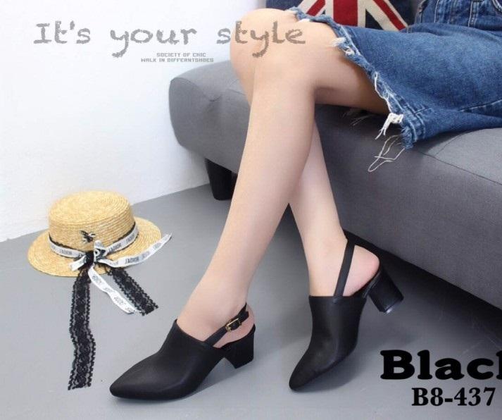 รองเท้าส้นตันหัวแหลมเปิดส้นสีดำ หนังนิ่ม (สีดำ )