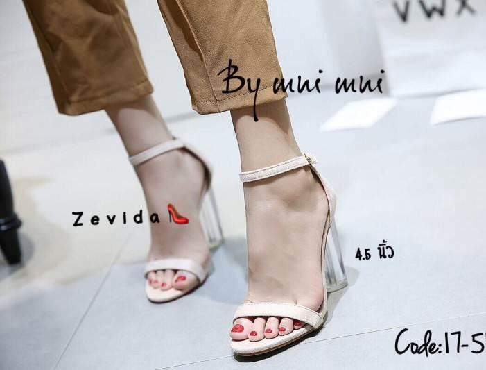 รองเท้าส้นสูงรัดส้นสีครีม ส้นแก้ว สไตล์เกาหลี (สีครีม )