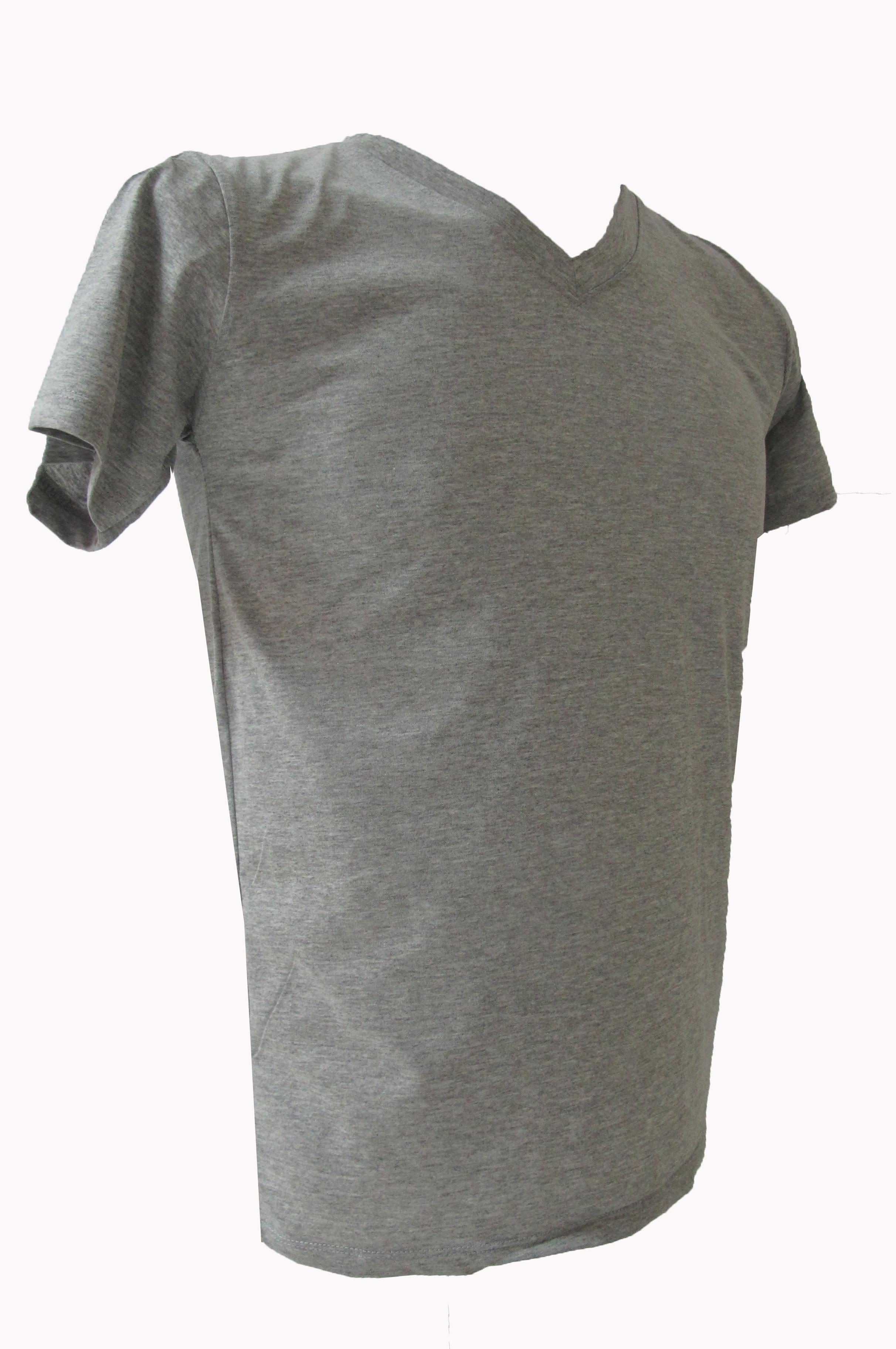 COTTON100% เบอร์32 เสื้อยืดแขนสั้น คอวี สีเทาทอปดราย