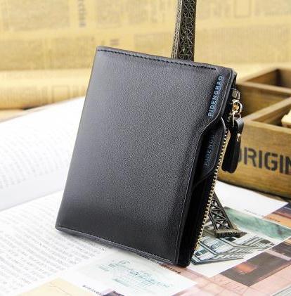 พร้อมส่งกระเป๋าสตางค์ผู้ชาย แฟชั่นเกาหลี รหัส Man-QB1203 ทรงตั้ง สีดำ