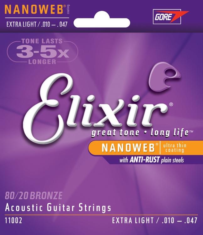 สายกีตาร์โปร่ง Elixir 80/20 Bronze Nanoweb Anti-Rust, Extra light, 10-47
