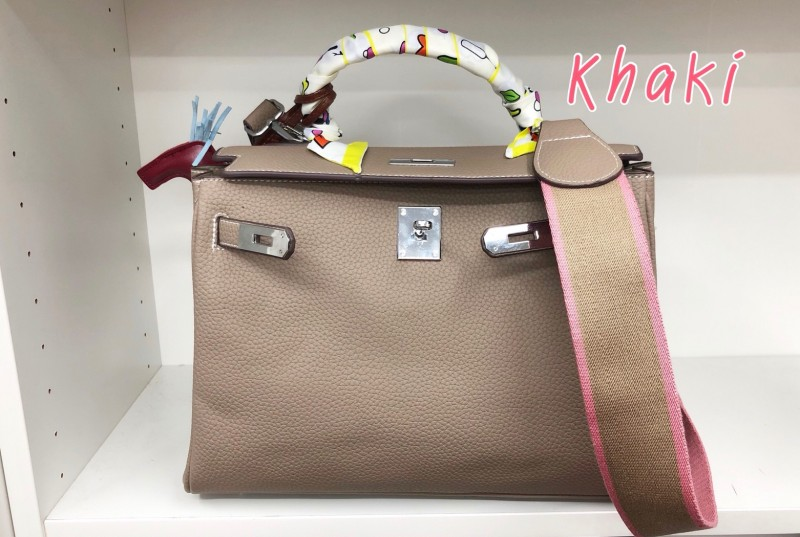 พร้อมส่ง กระเป๋าสะพายข้างผู้หญิง Kelly 32 cm [สีกากี]