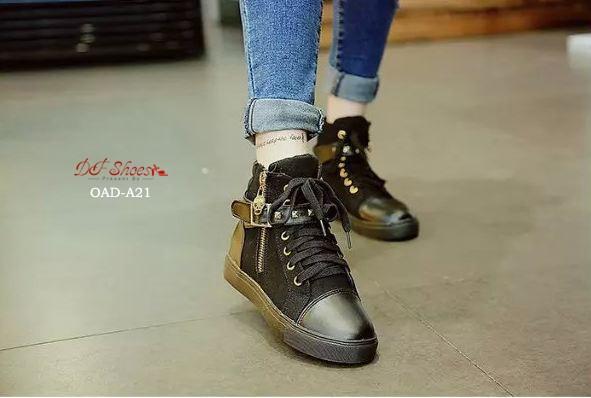 พร้อมส่ง รองเท้าผ้าใบหุ้มข้อสีดำ สริมส้น ผ้าแคนวาส แฟชั่นเกาหลี [สีดำ ]