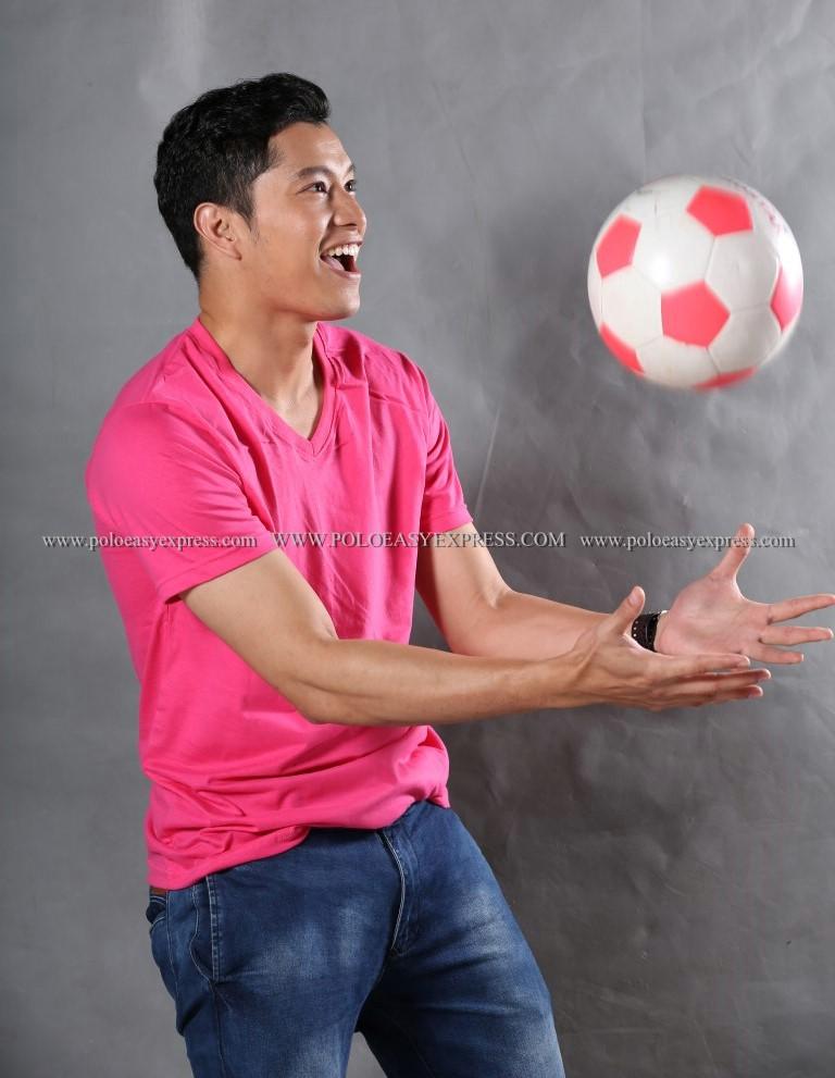 3XL เสื้อยืด สีชมพู Pinky คอวี แขนสั้น Size 3XL