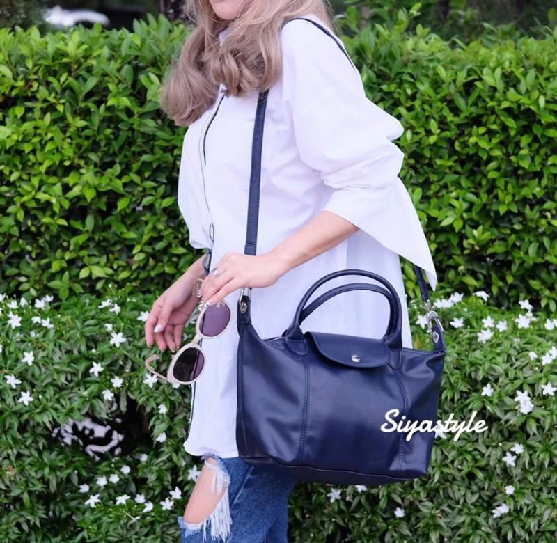 กระเป๋าสะพายแฟชั่น กระเป๋าสะพายข้างผู้หญิง ลองชอมหนัง Style [สีกรม]