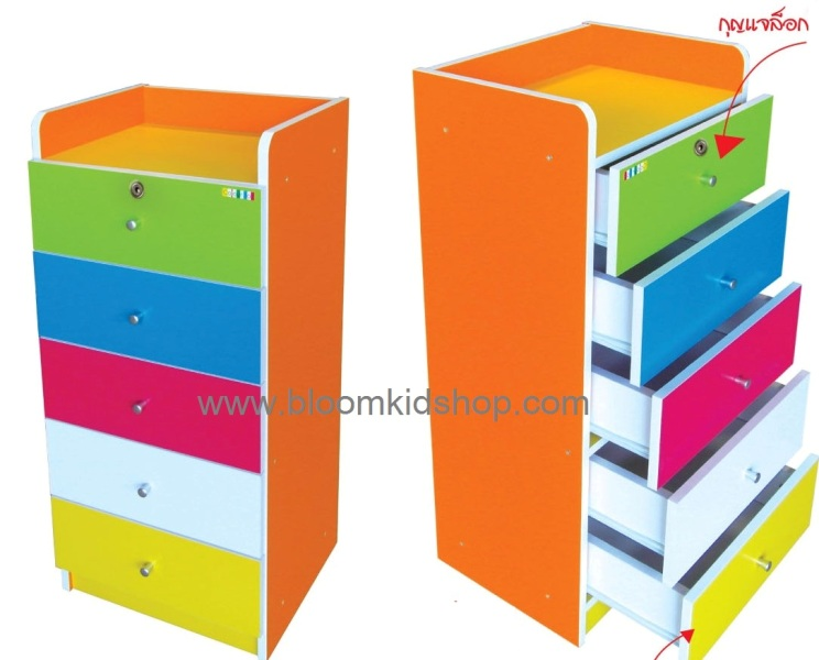 ชั้นหนังสือเด็กไม้ยางพารา แข็งแรง สีสรรสวยงาม