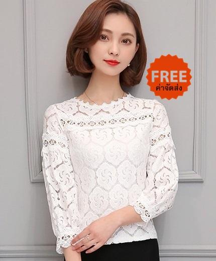 เสื้อลูกไม้สาวอวบเกาหลีไซส์ใหญ่