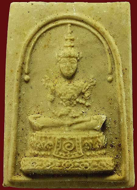 พระแก้วมรกต หลังเสือ เนื้อผงน้ำมัน ยันต์นูน ท่านเจ้าคุณนรฯ วัดศีลขันธ์ฯ ปี๒๕๑๓
