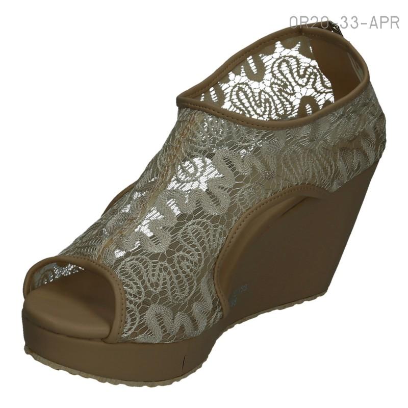 รองเท้าส้นเตารีด แบบหุ้มส้น ผ้าลูกไม้ (สีแอปปริคอท )