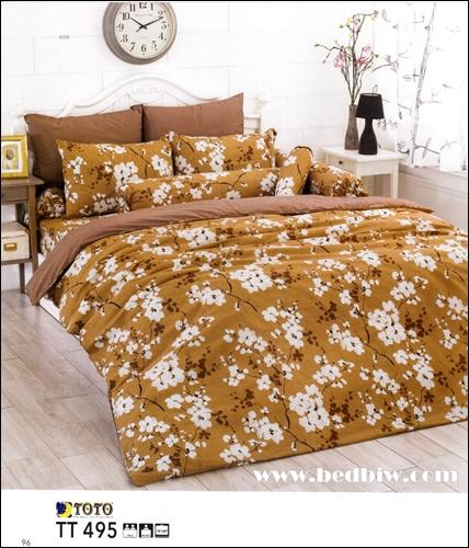 toto ชุดเครื่องนอน ผ้าปูที่นอนลายดอกไม้ TT495