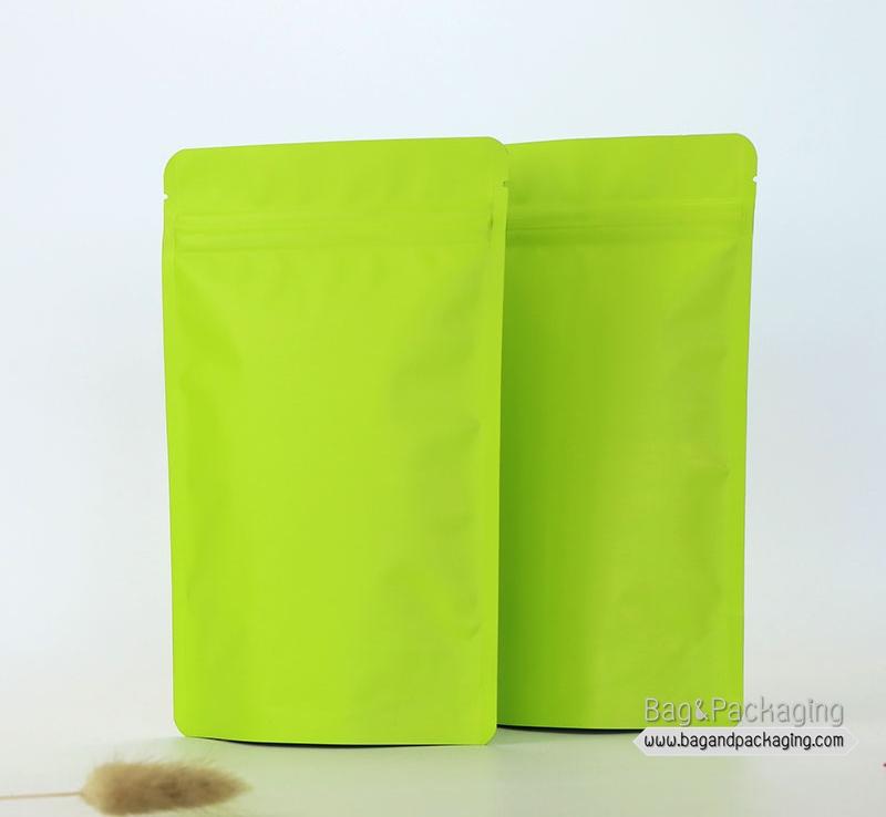 ถุงซิปล็อคก้นตั้ง สีเขียวด้าน