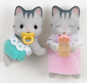 ซิลวาเนียน เบบี้แฝด แมวลายสีเทา นอน-คลาน (JP) Sylvanian Families Gray Striped Cat Twin Babies