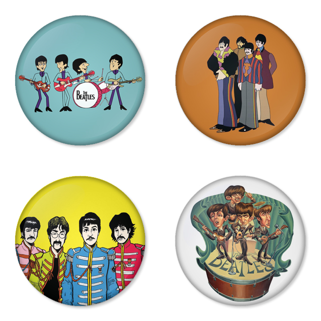 The Beatles button badge 1.75 inch custom backside 4 type Pinback, Magnet, Mirror or Keychain. Get 4 in package [3]