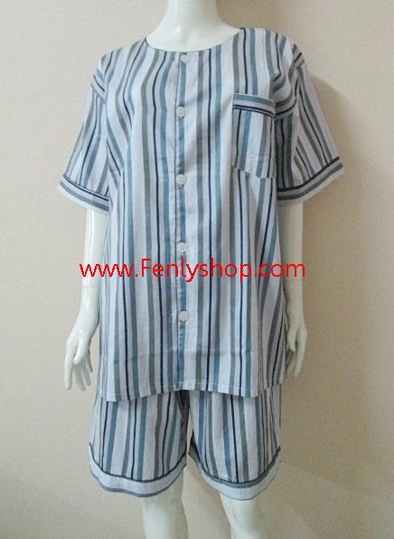 ชุดนอน(ช)กางเกงขาสั้น ผ้า Cotton เกรด เอ แบบลายทาง คอกลม ขนาดไซส์ XXL