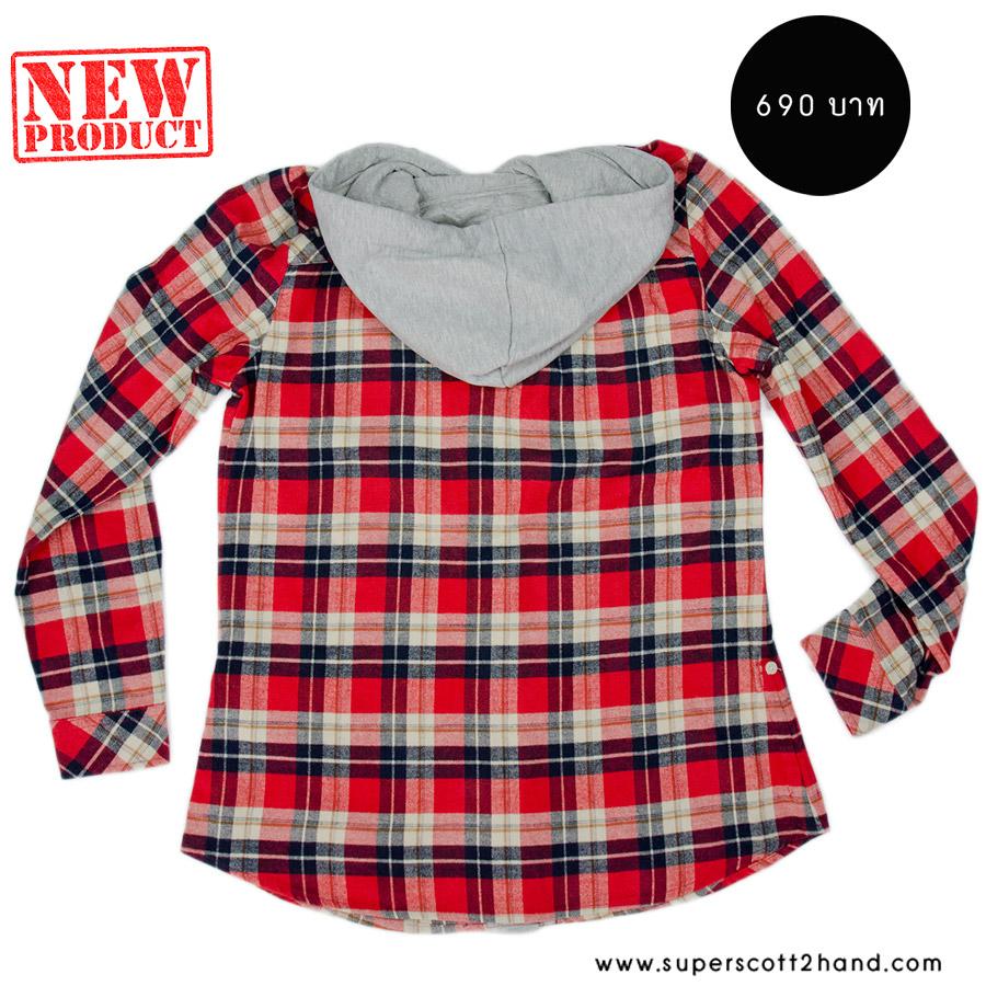 เสื้อคลุมลายสก๊อตผู้หญิงสีแดง มีฮู้ด