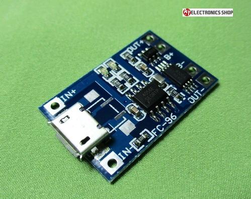 ชุดควบคุมการชาร์ทไฟ แบตเตอรี่ 3.7 โวลต์ MICRO USB พร้อมวงจรป้องกัน