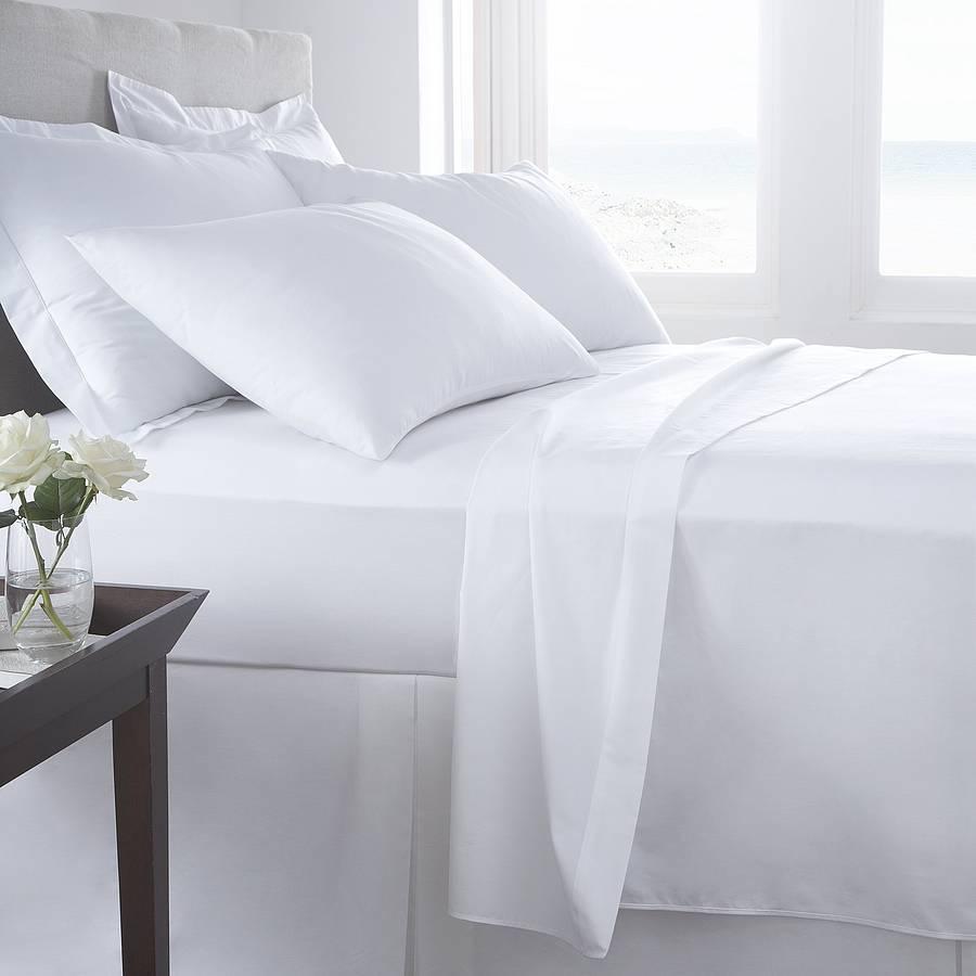 ผ้าปูที่นอนโรงแรมสีขาวเรียบ รัดมุม 3.5 ฟุต (1ชิ้น)