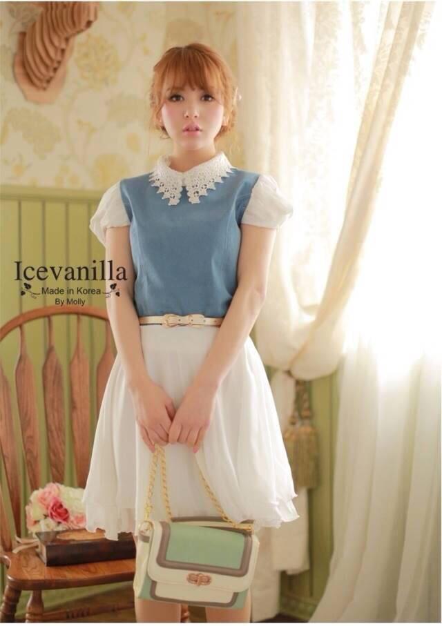 Princess denim chiffon Dress