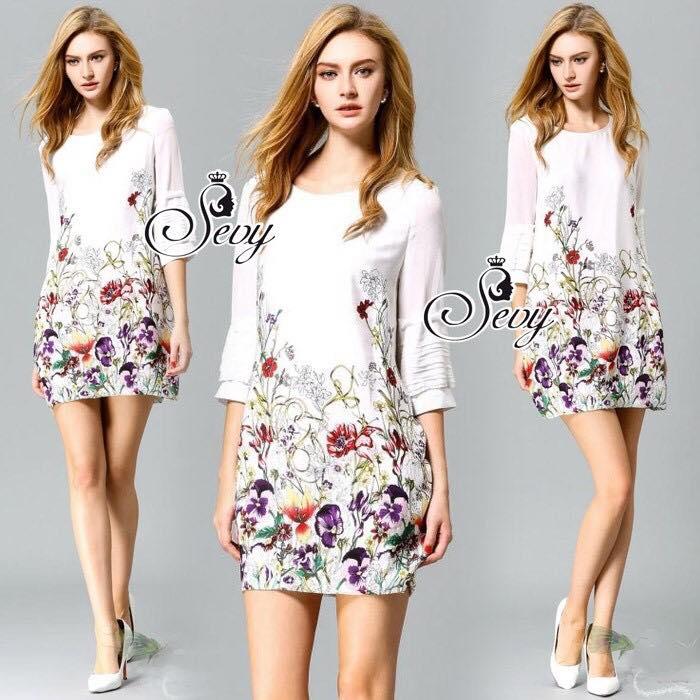 Tropical Sleeve Layer Mini Dress