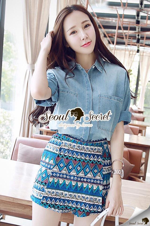 Chic Bohe Pants Print Shirt Denim Set