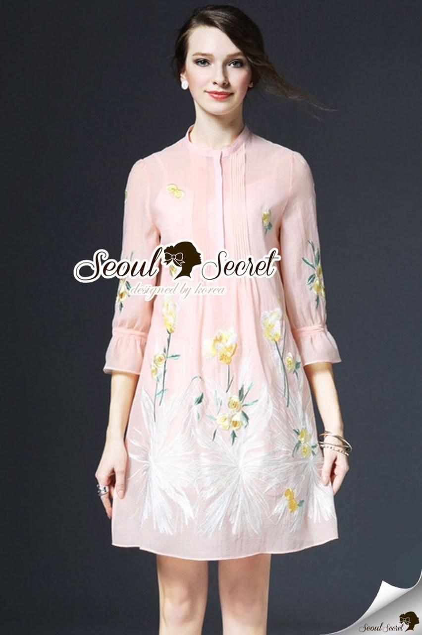 Ladiest Yellow Flora Embroider Dress