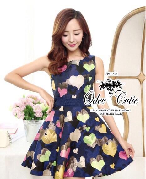 Colorful of hearts mini dress