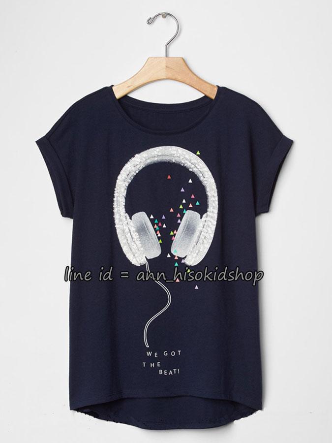 2035 GAP KIDS Short Sleeve Graphic T-Shirt - Navy Blue ขนาด 8,10 ,12 ปี