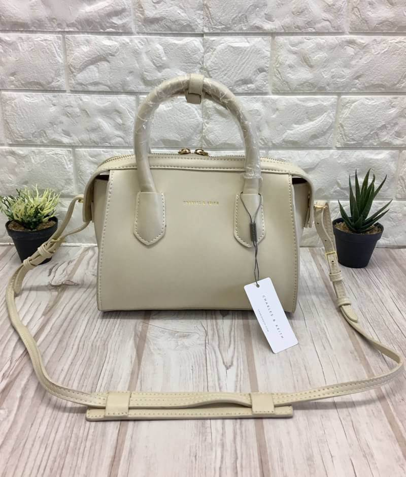 CHARLES & KEITH DOUBLE ZIP STRUCTRED BAG 2017
